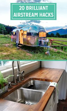 Liven up your Airstream with these easy modern design Genius Airstream Design Hacks. Liven up your Airstream with these easy modern design tips. Airstream Bambi, Airstream Sport, Airstream Basecamp, Airstream Travel Trailers, Airstream Living, Airstream Remodel, Airstream Interior, Vintage Airstream, Trailer Remodel