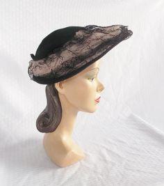 1940's Vintage Black Lace Over Pink New Look by MyVintageHatShop, $90.00