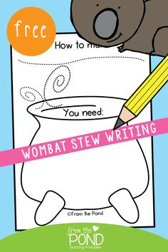A Spooky Stew - Wombat Stew writing procedure worksheet Kindergarten Writing, Teaching Writing, Writing Activities, Classroom Activities, Literacy, Preschool Ideas, Teaching Ideas, Talk 4 Writing, Writing Lessons