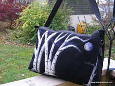 night time trees and moon Felted Wool Crafts, Wool Felting, Felt Crafts, Needle Felting, Felt Cushion, Felt Pillow, Textile Fiber Art, Fibre Art, Felted Bags