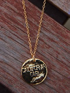 Hammered Gold California Girl Necklace