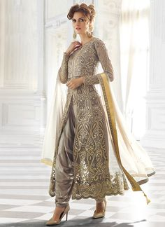 Grey Net Patiala Suit