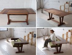 Table transforms into a love seat - recreate on a smaller scale (one-seater / 2 diner table)