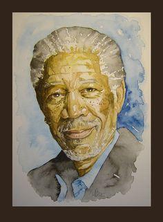 Watercolour portrait of Morgan Freeman Original by MBPortraiture