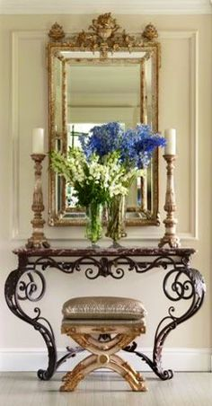 Iron helps complete the look of Old World: Lovely Vignette with iron table .