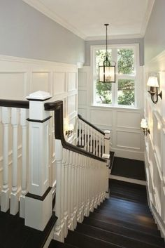 Cool grey, crisp white accents on dark wood floors great contrast and stop the space feeling dark and small.