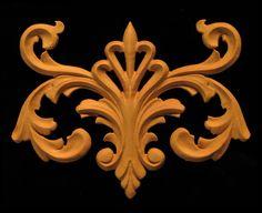Carved Wood Onlay - Crowned Volutes 2