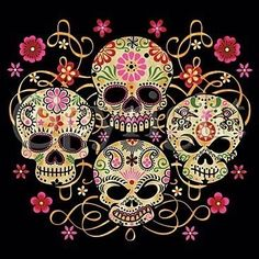 Dia de los muertos Day of the dead 4 painted skulls unisex/men size t-shirt mexican halloween sam haim all souls day sugar ritual holiday - My Sugar Skulls Sugar Skull Tattoos, Sugar Skull Art, Sugar Skulls, Sugar Tattoo, Hippie Tattoo, Skull Flag, Estilo Rock, Tattoo T Shirts, Tee Shirts