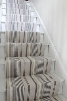 Hardwood Stairs Makeover with Annie Selke's Dash and Albert Farmhouse on Stairs Makeover Albert Annie Dash FARMHOUSE Hardwood Makeover Stairs Carpet Diy, Hall Carpet, Carpet Ideas, Grey Carpet, Modern Carpet, Cheap Carpet, Sisal Carpet, Stair Carpet, Striped Carpet Stairs