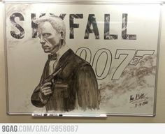 Someone : Saw this awesome James Bond on the whiteboard at my school.