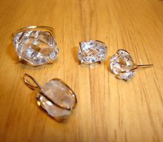 Ring/Earrings/Pendant set  Herkimer diamond rough in by ApacheMoon, $89.99
