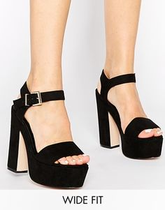 Buy ASOS HIGHLIGHT Wide Fit Heeled Sandals at ASOS. Get the latest trends with ASOS now. Shoe Boots, Ankle Boots, Shoes Heels, Heeled Sandals, Asos, Frauen In High Heels, Rocker, Wide Width Shoes, Rock Chic