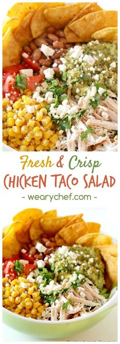 This fresh, crisp chicken taco salad is a perfect summer dinner recipe!