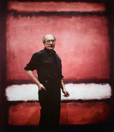 """Mark Rothko in front of his painting """"No.7"""", 1960."""