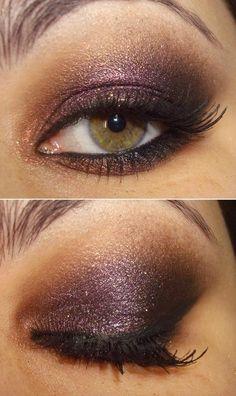 plum & bronze smokey eye - it is an evening wedding, after all