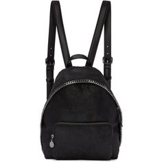 Stella McCartney Black Small Falabella Backpack found on Polyvore featuring bags, backpacks, black, logo bags, pin bag, day pack backpack, hardware bag and stella mccartney bag