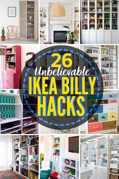 These are show-stoppers! Amazing ideas to customize your Billy shelves and bookcase systems. Billy Bookcase With Doors, Bookcase Closet, Billy Bookcases, Ikea Billy Hack, Ikea Billy Bookcase Hack, Ikea Built In, Diy Furniture Easy, Ikea Furniture, Door Makeover