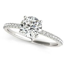Diamond Accented Engagement Ring Setting 18k White Gold (3.12ct), Women's, Size: 7.25