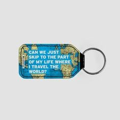 Can We Just - World Map - Leather Keychain - airportag   - 1