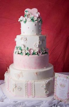 Spring Summer Green Pink White Multi-shape Wedding Cakes Photos & Pictures - WeddingWire.com