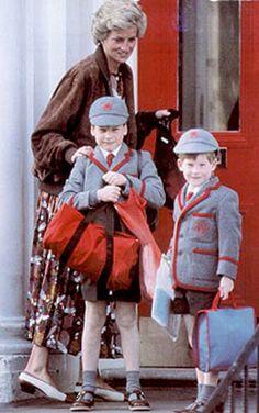 Princess Diana with her boys, Princes William and Harry.