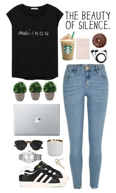 """""""The beauty of silence"""" by kiki-aleksandrov ❤ liked on Polyvore featuring River Island, adidas, MANGO, Sennheiser, Calvin Klein, Kate Spade, D.L. & Co., Christian Dior, StreetStyle and beautypover"""