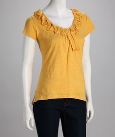 Buff Yellow Nostalgia Top -- would be so cute with jeans or a skirt. Love the color!  $16.99 Down East Basics