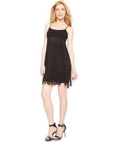 Calvin Klein Empire-Waist Fringe Dress