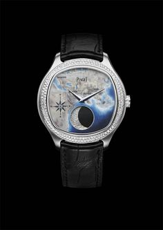 Piaget Emperador Coussin XL Large Moon Enamel. 18-carat white gold case set with 160 brilliant-cut diamonds. Mythical Journey logo applied under the sapphire case-back Crown set with 10 brilliant-cut diamonds. Hand-engraved white gold dial with champlevé and miniature enamel representing the Mythical Journey road Manufacture Piaget 860P, self-winding mechanical large moon phase indicator movement. Bracelet in black alligator with white gold folding clasp. #Piaget #watch #amythicaljourney