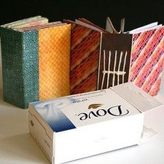 Recycled mini book (out of a box of soap) by Avital Gertner - Diy Crafts Ideas Projects Handmade Journals, Handmade Books, Handmade Notebook, Handmade Rugs, Handmade Crafts, Book Crafts, Fun Crafts, Art Carton, Recycled Crafts
