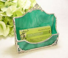 NEW Teal Wispy Business Card Holder by MoreThanColors on Etsy, $29.50