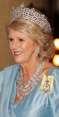 Camilla Duchess of Cornwall wearing the Greville Tiara with added pieces on top, and the Greville Necklace (full-strand option). Mighty nice earrings too - do we have a name for them?!