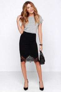 Chic to Me Black Lace Midi Skirt at Lulus.com!