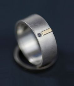Wedding ring set, diamond and gold, modern - unique engagement ring - 14K gold and silver - marriage equality