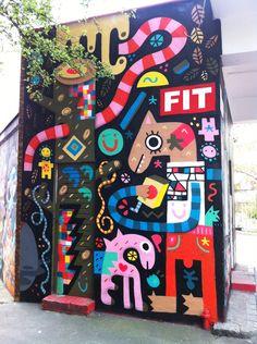 Pictoplasma x FIT freie internationale tankstelle by Billy, via Behance Billy (Alex Godwin) Graffiti Art, Murals Street Art, Mural Art, Wall Murals, Wall Art, Grafitti Street, Mural Painting, Murals For Kids, Best Street Art