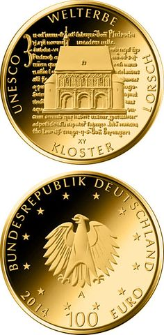 100 euro: UNESCO Welterbe - Kloster Lorsch.Country: Germany Mintage year:2014 Issue date:01.10.2014 Face value:100 euro Diameter:28.00 mm Weight:15.55 g Alloy:Gold Quality:Proof Design:Frantisek Chochola