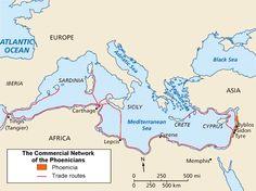 Mapa da Fenícia e rotas de comércio.