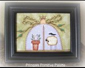 Primitive Spring Angel Framed Canvas Handpainted Picture Home Decor