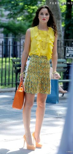 Blair Waldorf Summer Style -season 5 Stella McCartney Spring 2011 skirt. Brian Atwood Maniac shoes. Riki Rosetta bag.