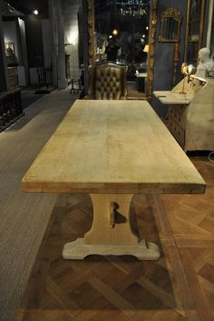 1950 French Vintage Bleached Oak Trestle Table 4