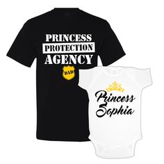 Daddy Daughter Matching Shirts - Customize the baby girl onesie with her first name, or whatever you want. Super cute for dad and daughter.