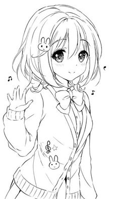 Ideas For Drawing Kawaii Girl Sketch Anime Drawings Sketches, Anime Sketch, Kawaii Drawings, Manga Drawing, Cute Drawings, Sketch Drawing, Drawing Art, Drawing Ideas, Hipster Drawings