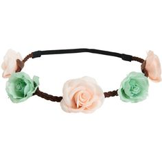 Aeropostale Braided Flower Headband ($5) ❤ liked on Polyvore featuring accessories, hair accessories, mint sprig, hair band headband, flower crown, braided headband, flower headwrap and thin headbands