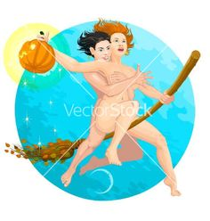 Halloween two little witches flying on a broom vector