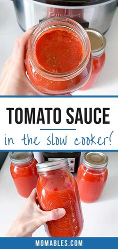 This simple crockpot tomato sauce is easy to prepare and great for pizza, pasta, calzones, and more! No peeling or seeding required.