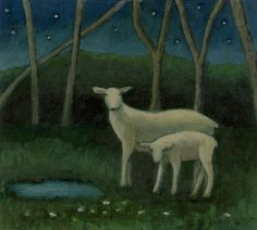 "SHEEP UNDER THE STARS, Acrylic on Paper mounted on Panel,  9 x 10"", 11 1/4 x 12 1/4"" framed"
