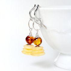 CHRISTMAS SALE ! Ball Beads Natural Milky Golden Honey Amber Earrings Disc Beads silver details amber silver earrings long dangle