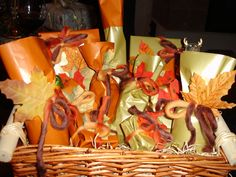 Gift basket in Fall colors for the birthday girl! #pamperspinparty