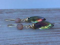 Boho-Romantic Czech Earrings - AB Czech Glass - Wire Wrapped Earrings - Handmade