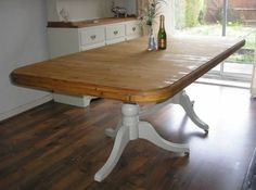 SHABBY-CHIC-7ft-SOLID-PINE-EXTENDABLE-DUCAL-DINING-TABLE-FARROW-BALL Solid Pine, Solid Wood, Dining Table In Kitchen, Dining Room, Furniture Decor, Painted Furniture, Nantucket Style, Farrow Ball, Shabby Chic
